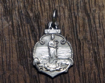 Stunning Silver Colored Metal Antique French Notre Dame de la Garde Anchor Amulet