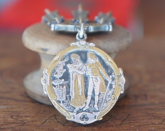 Stunning Napoleon & Josephine Silver and Gold Tone Pocket Watch Chain Fob