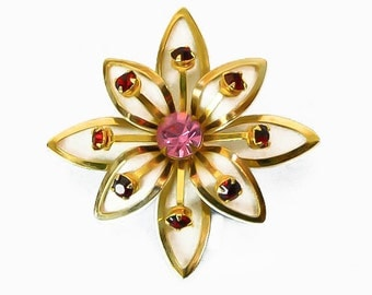 1950s Gold Tone Pink Rhinestone and White Enamel Layered Flower Vintage Pin Brooch
