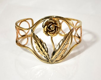 1950s Rose and Yellow Gold Plated Open Design Flower Cuff Bracelet