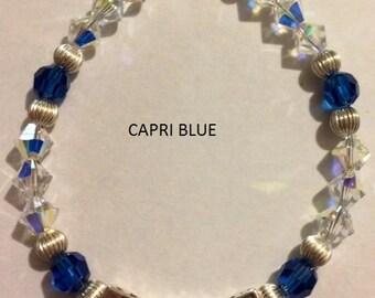Custom Name bracelet with swarovski crystal beads, made to order
