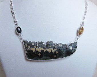 Ocean Jasper Necklace- Druzy, Green Tourmaline, Citrine, Silver- Metalwork