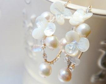 White Floral Earrings, Pearl Wedding Earrings, Akoya Pearl Earrings, Pansy Romantic Japanese Jewelry