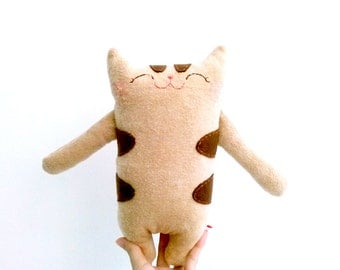 Plush Cat, Cotton Cat Plush, Cute Cat Softie, Brown Tabby Cat, Nursery Room Decor, Toy Cat, Boys, Children Stuffed Animal - Cat Lover Gifts
