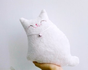 White Stuffed Cat, Cat Softie, Cat Decor, Plush Cat, Children Toy, Toddler Toy, Baby Shower Gift, White Cat, Cat Lover Gifts - Kitty Snow