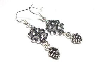 Earrings, Silver Earrings, Antique Silver Pinecone Earrings, Spiritcatdesigns, Fall Earrings
