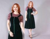 Vintage 70s Jumper DRESS / 1970s Dark Green Velvet Sleeveless OVERALLS Dress XS