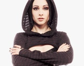 Luscious striped, knit shrug with pointy hood by Plastik Wrap. All sizes.