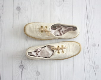 linen and jute plimsoles