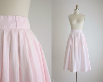 blush cotton midi skirt