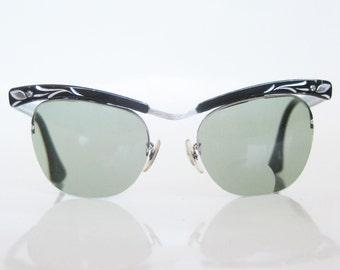 Black Rockabilly Eyeglasses Cat Eye Glasses Bausch and Lomb USA Silver Aluminum Metallic 1950s 50s Fifties Mod Classic Hipster Midnight