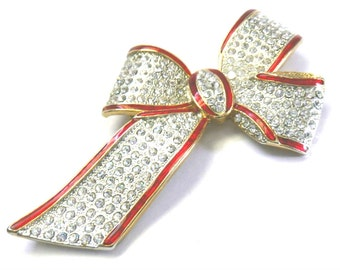 """4"""" Huge Enamel and Pave Rhinestone Bow Brooch, Statement Brooch, Unsigned Beauty"""