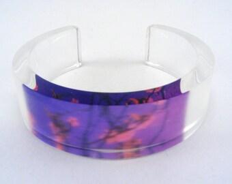Small Purple Blossom bangle perspex cuff, valentine cuff