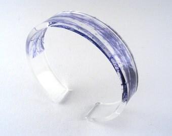 Perspex Bangle, Grey Lucite Bangle Woodland Grey Pattern Bangle Acrylic Bracelet