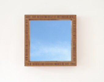 Modern Bamboo Mirror, Thick and Deep Frame 17 x 17 x 3
