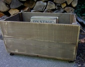 WOOD ROLLING CRATE - Solid Ashwood Hand Crafted In Michigan - Pet Toy Crate