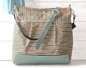 BEST SELLER Diaper bag, Messenger bag, WAXED Stockholm Black ecru geometric nautical striped  Leather, Featured on The Martha Stewart