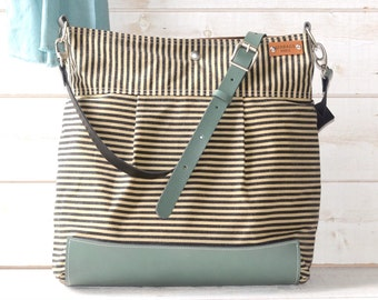 BEST SELLER Diaper bag, Messenger bag, WAXED Stockholm Black ecru geometric nautical striped  Leather, Featured on The Martha Stewart