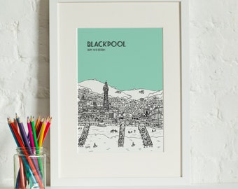 Personalised Blackpool Print | Unique Art | Custom Wedding Gift | Special Anniversary Gift | Engagement Gift | Blackpool Picture | Valentine