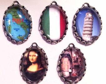 TRIBUTE to ITALY Handmade Photo Charm Set-ITALIAN charms-Mona Lisa Charm-Leaning Tower Pisa Charm-Flag Charm-International Charm-Map Charm