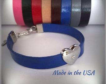 Heart bracelet Leather bracelet Rhinestone heart bracelet Heart slide charm Valentine gift Sweetheart gift Love bracelet heart jewelry