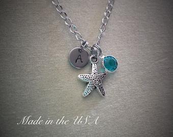 Starfish necklace,Silver starfish necklace. Starfish charm necklace. Starfish jewelry. Gift For Her,Personalized,Jewelry