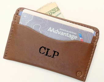 Leather Credit Card Wallet -  Personalized Hand Painted - Alternative Apparel