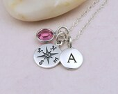 Silver Compass Necklace Personalized, Compass Initial Birthstone Necklace, Sterling Silver, Enjoy the Journey