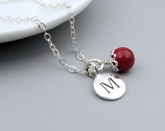 Personalized Birthstone Necklace, Initial Jewelry, gemstone birthstone, sterling silver, june birthstone necklace, choose your birthstone