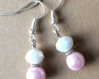 Posh pink and white earrings
