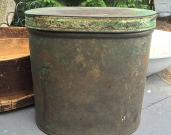 Antique coffee tin, wonderful patina, green