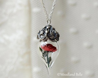 Classic Red Rose Flower Terrarium Glass Vial Necklace by Woodland Belle