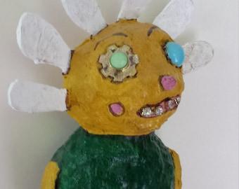Primitive Outsider Folk Art Daisy Art Doll Ooak