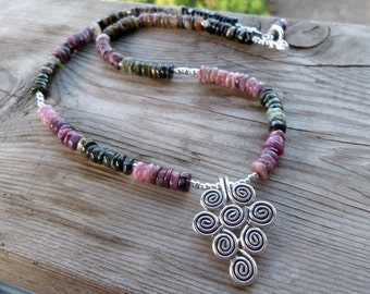 Rainbow Tourmaline Heshi Beads Gemstone and Sterling Silver and Fine Silver Spiral Pendant Necklace