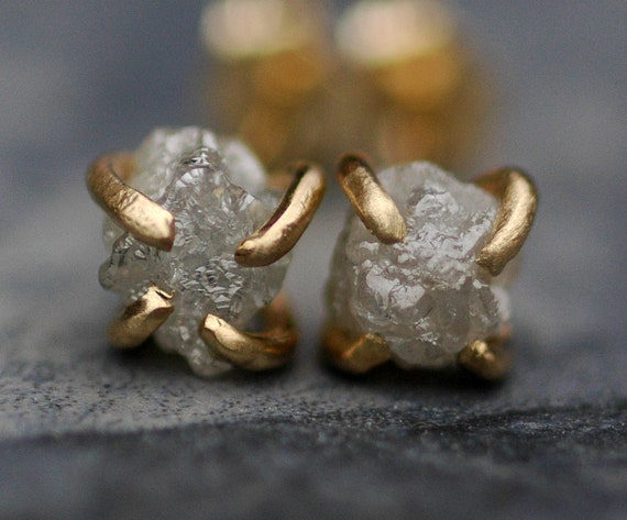 Ready to Ship:  Raw Diamonds in Brushed 14k Yellow Gold Post Earrings- Limited Edition