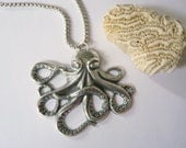 Silver octopus necklace Large silver necklace Ocean necklace Beach necklace Statement necklace Sterling silver chain Thick silver chain