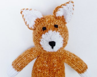 "Cat Stuffed Animal, Hand Knit Orange Tabby, Toddler Toy, Baby Shower Gift, Handmade Plush Doll, Infant Nursery Decor 13 1/2"""