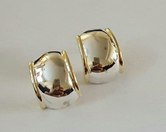 Vintage 14k Yellow Gold and Sterling Silver Earrings
