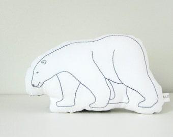 polar bear shaped pillow, polar bear cushion, plush polar bear, arctic animals