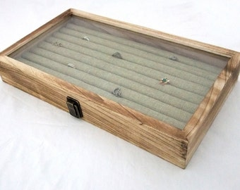 Rustic Oak Glass Top Ring / Cufflink Storage Case With 8 Row Burlap Insert