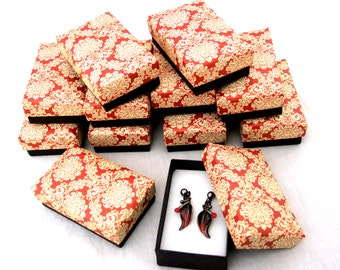 Red Floral Print Earring Boxes Package of 12   SALE