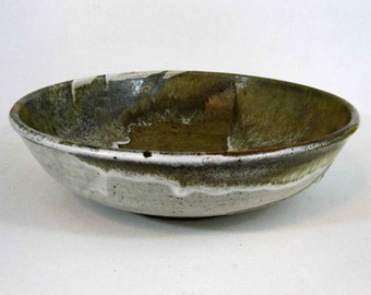 Vintage Mid Century Pottery Bowl in Earth Tones. Signed. Circa 1960's.