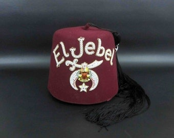 "Vintage Felt Shriner's Fez Embroidered ""El Jebel"" with Storage Case. Circa 1960's."