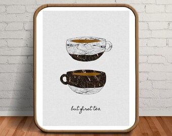 Tea Print, Wall Art Kitchen, Set of Prints, Tea Poster, Tea Cup, But First Tea, But First Tea Sign, Food Quotes, Set of 6 Prints, Drawing