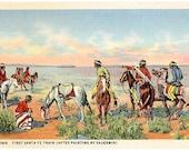 Vintage Southwest Postcard - The First Santa Fe Train crossing the Desert (Unused)