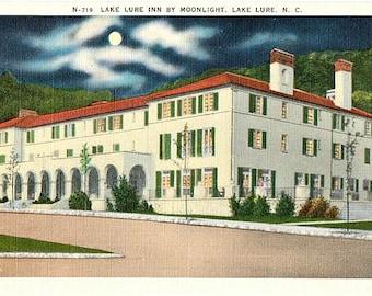 Vintage North Carolina Postcard - The Lake Lure Inn by Moonlight (Unused)