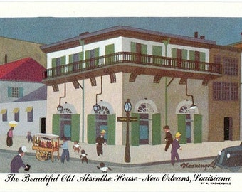 Vintage New Orleans Postcard - The Old Absinthe House -- Artist Signed, A. Kronengold (Unused)