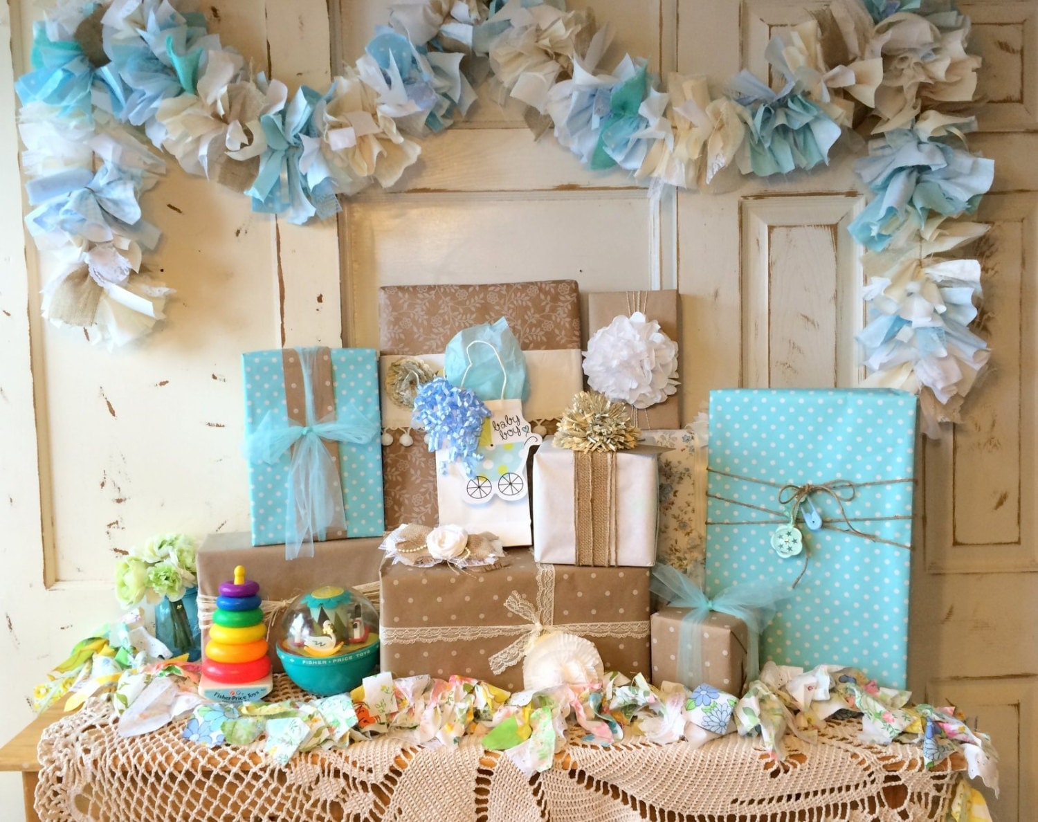 Baby boy burlap shower party decoration 6 10 foot fabric for Baby themed fabric
