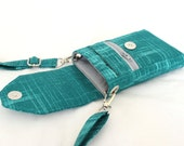 Cell phone purse - small crossbody bag - mobile phone bag - cell phone wallet - teal cell phone purse - iphone 6 plus case MADE to ORDER