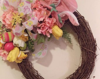 Bunny Ears Easter/Springtime Floral Front Door Wreath
